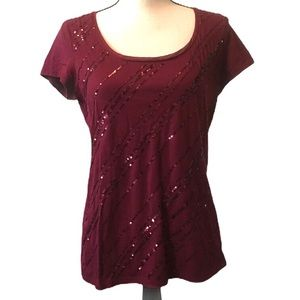 WHBM sequined top dark red size medium